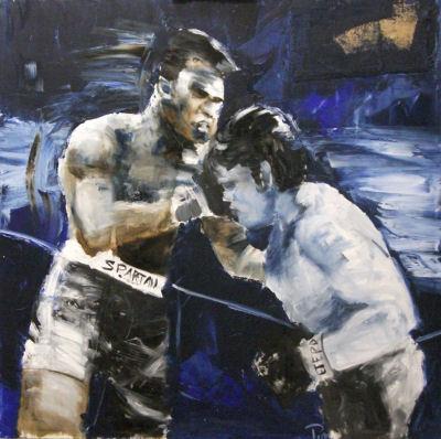 """Alfredo Pini """"RING"""" olio su tela cm.100x100 anno 2012"""